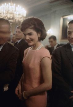 Jacqueline Kennedy greets members of the 86th Congress in the Green Room at the White House, Washington DC, March 1961.