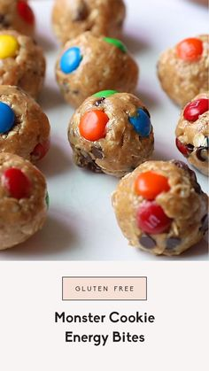 No bake monster cookie energy bites filled with creamy peanut butter and your favorite mix-ins like raisins, chocolate chips and M&M's. These easy monster cookie energy bites are gluten free, easily made vegan and packed with healthy fats to keep you satisfied. The best post workout snack or treat!