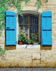 Metaverse Blue Shutters by Michael Swanson Canvas Art Window Wrap, Open Window, Window Boxes, Faux Window, Interior Window Shutters, Blue Shutters, Wooden Shutters, Through The Window, Architecture