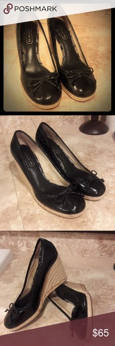 Coach wedges Coach patent leather wedges. Size 6.  Excellent used condition Coach Shoes Espadrilles