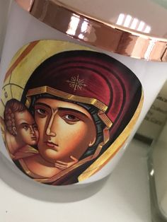 Large Religious Icon with Rose Gold Lid  Livani scents