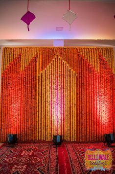 Yellow And Orange Genda Phool Backdrops - Garjana and Rajat - Happy Weddings in Pushkar - Happy Shappy