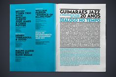 layout, spread, typography, jazz, type, color, blue, information,