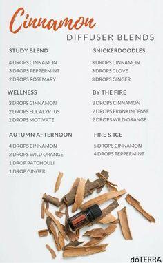 Cinnamon Essential Oil Uses: doTERRA cinnamon essential oil diffuser blends: Study blend, wellness blend fo. Essential Oil Diffuser Blends, Essential Oil Uses, Doterra Essential Oils, Doterra Diffuser, Doterra Blends, Mixing Essential Oils, Clove Essential Oil, Essential Oils Guide, Essential Oil Candles