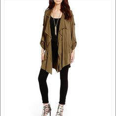 HP✂️SALE Jessica simpsons olive petunia jacket Waterfall draped jacket, it's lightweight and very comfy and relaxed. Adds utility styling to your casual look. Hits just above knee, assymetrical hem, epaulets at shoulder, button roll tabs. Viscose. Olive green color. BNWT, ABSOLUTELY NO TRADES!! Jessica Simpson Jackets & Coats Utility Jackets