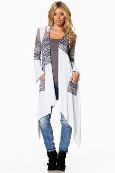 Elan USA Fall 2013 White Black Tan Stripe Aztec Boho Long Sweater w Pin | eBay