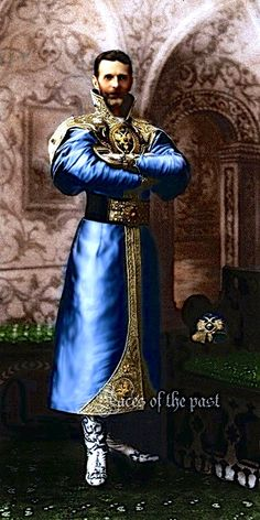Grand Duke Sergei Alexandrovich Romanov (11 May 1857-17 Feb 1905) Russia dressed in a XVII century Russian costume for the 1903 Last Romanov Imperial Ball in the Winter Palace in April 1903 in color.