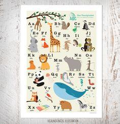 Drucke & Plakate - ABC Poster, Tieralphabet DIN B2, 50 x 70 cm - ein Designerstück von fiftyfour-media-illustration bei DaWanda