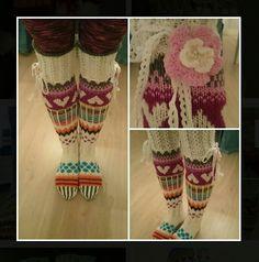 Mian ylipolvensukat pattern by Mia Sumell Crochet Gloves, Knit Crochet, Over Knee Socks, Knitting Socks, Knitting Projects, Leg Warmers, Fingerless Gloves, Free Pattern, Girly
