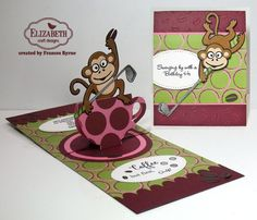 Coffee, but first Golf! created by Frances Byrne using Jinks the Monkey; Cup Pop Stand Card; Pull Card Edges - designed by Karen Burniston for Elizabeth Craft Designs; Fitted Circles; Stitched Ovals - Elizabeth Craft Designs