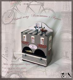 """Купить Чайный комод """"Воспоминание о Париже"""" - серый, чайный комод, декупаж для…"""