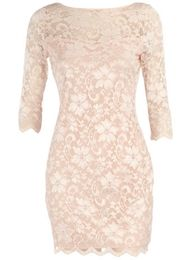 light pink lace dress.