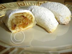 Greek Food Recipes and Reflections, Toronto, Ontario, Canada Greek Sweets, Greek Desserts, Greek Recipes, Greek Cookies, Filled Cookies, Stuffed Cookies, Chefs, Cyprus Food, Greek Pastries