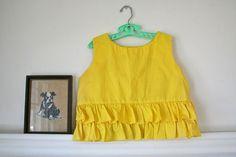 yellow ruffled vintage kiddie crop top