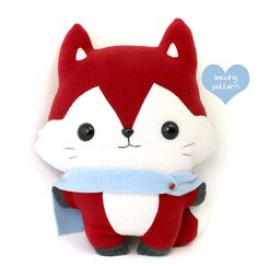 Plushie Sewing Pattern PDF Cute Soft Plush Toy - Kitsu Fox Stuffed Animal 14""