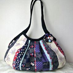 Zippered large Kimono Granny Bag, Floral stripe patchwork print in blue