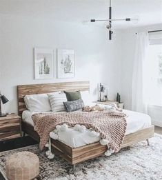 Bedroom Inspiration - Pursue your dreams of the perfect Scandinavian style home . Schlafzimmer Ins Small Master Bedroom, Master Bedroom Design, Interior Design Living Room, Bedroom Designs, Bedroom Styles, Kitchen Interior, Farmhouse Bedroom Decor, Home Decor Bedroom, Bedroom Ideas