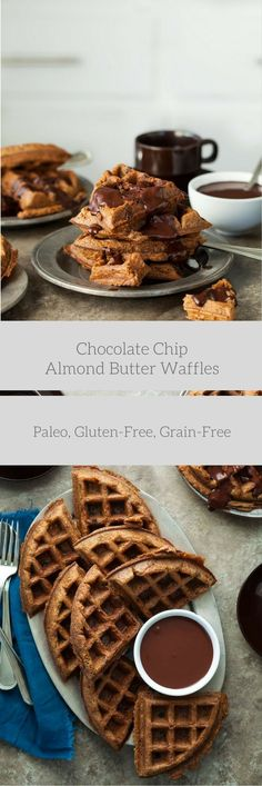 Paleo Chocolate Chip Almond Butter Waffles with Chocolate Sauce - These light and airy chocolate chip almond butter waffles with chocolate sauce come together in no time at all. Whole Food Recipes, Dessert Recipes, Free Recipes, Meal Recipes, Paleo Chocolate Chips, Chocolate Chocolate, Pancakes And Waffles, Paleo Pancakes, Waffle Recipes