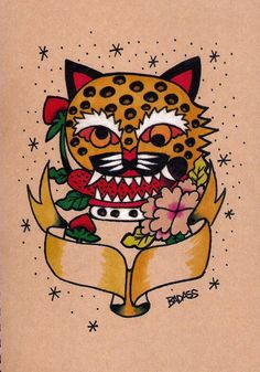 Tiger and Moran flower  Korean folk art style tattoo design. By Badass Tattoo. Seoul. korea