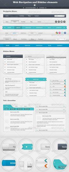 Web Navigation And Sidebar Elements Tabs Ui Bar Vector Shapes Menu Template