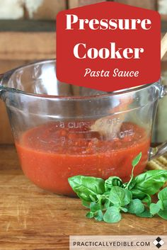 Making your pasta / spaghetti / tomato / marinara sauce in a pressure cooker is faster, and there's no constant stirring. And your stove burner is barely on the entire time. The taste is brighter and fresher than the open-pot method. http://www.practicallyedible.com/pressure-cooker-pasta-sauce/ #pastasauce   #spaghettisauce   #tomatosauce  #marinarasauce