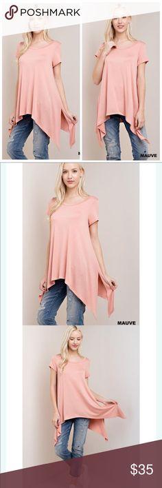 🌸Mauve shirt sleeve round neck tunic 🌸Mauve shirt sleeve round neck tunic🌸 Tops Tunics