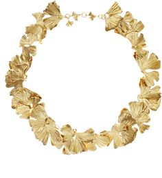 Gold Plated Ginkgo Feather Necklace from Aurelie Bidermann -- inspired by the intricate, delicate ginkgo leaf, symbol of health and long life.