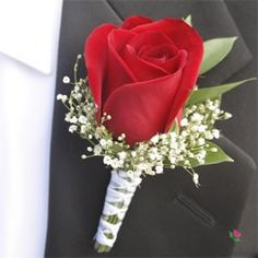 Light Pink and red Roses & Ruscus Bridal Bouquet and Groom's Boutonniere