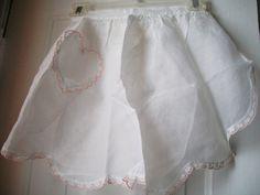 Sheer Apron, Vintage Apron, White With Heart Pocket, Half Apron.