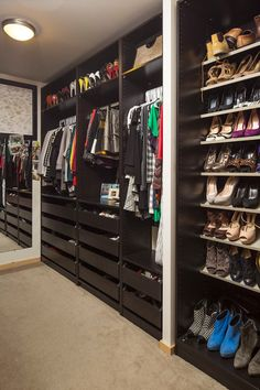 Fascinating Ikea Closet Design for Main Closet Design of Bedroom: Tidy Modern Closet Idea Involving Floor To Ceiling Cabinet For Shoes And C...