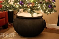 Harry Potter-themed Christmas tree - Plant Your Christmas Tree In a Potter-Inspired Tree Cauldron! From @epbot GENIUS.