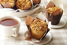 Perfect for breakfast or on-the-go snacks, these apple muffins are sure to please. Peanut Butter is used in place of butter in the crisp and crumbly streusel topping - a tasty twist on tradition. Muffin Recipes, Apple Recipes, Brunch Recipes, Sweet Recipes, Cookie Recipes, Dessert Recipes, Breakfast Recipes, No Bake Treats, No Bake Desserts