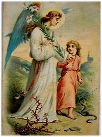 ORACIONES ANTIGUAS: AL ANGEL DE LA GUARDA PARA PROTECCIÓN Guardian Angels, The Guardian, Angel Protection, Archangel Prayers, Vintage Holy Cards, Angels In Heaven, Heavenly Angels, Old Cards, Angel Pictures