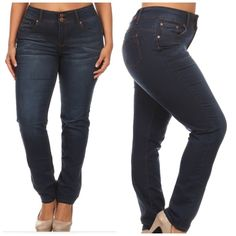 """Shop Women's size Various Skinny at a discounted price at Poshmark. Description: Plus size skinny long jeans. Muffin top cover high waist. 5 pocket design. Simple back pocket. 2 vintage red bronze color buttons zipper fly closure. Butt lift with sexy tight fit. Super stretchy dark blue wash. 31"""" inseam. 76% Cotton, 22% Polyester, 2% Spandex.. Sold by dals_boutique. Fast delivery, full service customer support."""