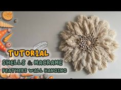 TUTORIAL Shells & Macrame Feathers Wall Hanging / DIY SIMPLE HOME DECOR - YouTube Macrame Wall Hanging Patterns, Boho Wall Hanging, Macrame Art, Macrame Design, Macrame Projects, Macrame Knots, Macrame Patterns, Diy Casa, Ideias Diy