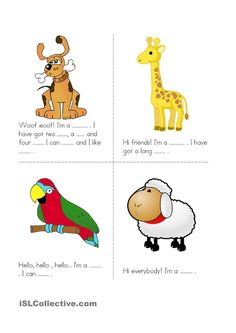 Animals - English ESL Worksheets for distance learning and physical classrooms Learning English For Kids, English Lessons For Kids, Kids English, Teaching English, Learn English, English Worksheets For Kids, English Games, English Activities, Writing Activities