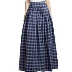 Michael Kors Collection High-Waist Check Full Skirt (2,060 CAD) ❤ liked on Polyvore featuring skirts, high waisted pleated maxi skirt, long straight skirt, full pleated skirt, full skirt and blue maxi skirt