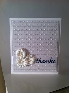 4x4.5 thank you card, embossed white-on-white, designed by Flutterby Design