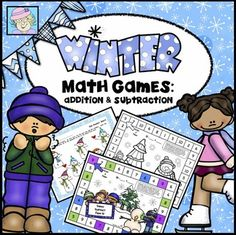 Winter Math Games: Addition & Subtraction. These dice addition and subtraction games help students practice facts up to 12, as well as adding and subtracting 10 from 2-digit numbers. The set includes 12 different games in both full color and blackline versions.