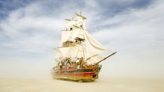 Greg Barron's Monaco at Burning Man 2014.  Bay Area artist Greg Barron built the Monaco on top of an old Winnebago. When the winds kick up, he kills the engine and lets the sails do the work of ferrying people across the playa.  via http://www.rollingstone.com/culture/pictures/burning-man-2014-trippiest-photos-20140910/ship-of-fools-20140910