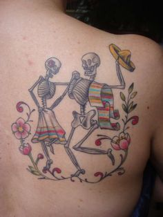 "Dancing skeleton tattoo, ""If you can't get rid of the skeleton in your closet, you'd best teach it to dance."" -George Bernard Shaw"