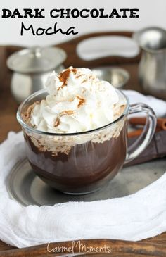 DIY Dark Chocolate Mocha -- Delicious dark chocolate mocha with an easy to make recipe. | carmelmoments.com