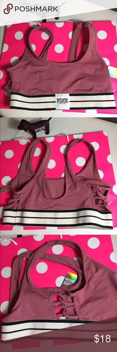 NWT VS Pink Sports Bra in Small New with Tags Victoria Secret Pink Sports Bra in Begonia made of quick dry fabric, 4 way Stretch Light Support. PINK Victoria's Secret Intimates & Sleepwear Bras