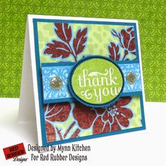 Red Rubber Designs | Oval Greetings, Catelynn Patterned Paper Collection | Mynn Kitchen | On A Stampage | Thank You Card
