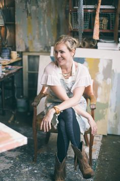 Deann painting in her studio of 10 years, The Factory at Franklin, just south of Nashville,