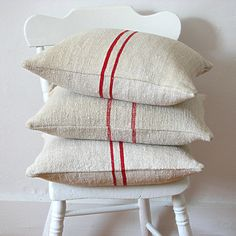 Vintage Grainsack Pillow Dark Red Stripe by jillbent on Etsy.