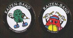 RAIZEN-BAND POGS (Worlds of Fun, BENJY, 1993): Smooth surface, Printed in Hong Kong, Lot of 2 different, California Raisin look-alikes. Both for $1