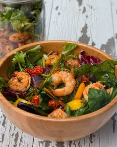 INGREDIENTS1 pound shrimp1 cup cherry tomatoes, halved1 cup carrots, shredded1 cup yellow bell pepper, chopped1 cup red onion, chopped1 cup asparagus, choppedOlive oilSaltPepperChili powderOreganoLime juiceLarge handful of mixed greensChili Lime Vinaigrette Dressing:3 tablespoons lime juice2 tablespoons olive oil1 tablespoon honey½ teaspoon chili powderSalt, to tastePepper, to tastePREPARATION1.Preheat oven to 425˚F/220˚C. 2.On a baking sheet lined with parchment paper, season chicken with…