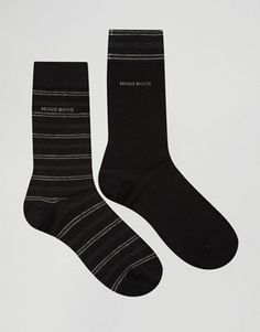 Hugo Boss Stripe Socks In 2 Pack Black