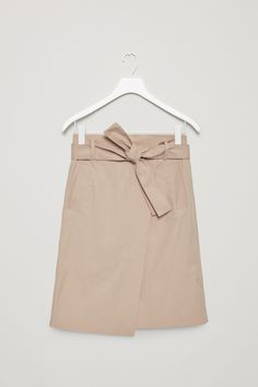 COS image 4 of Belted wrap-over skirt in Khaki Beige